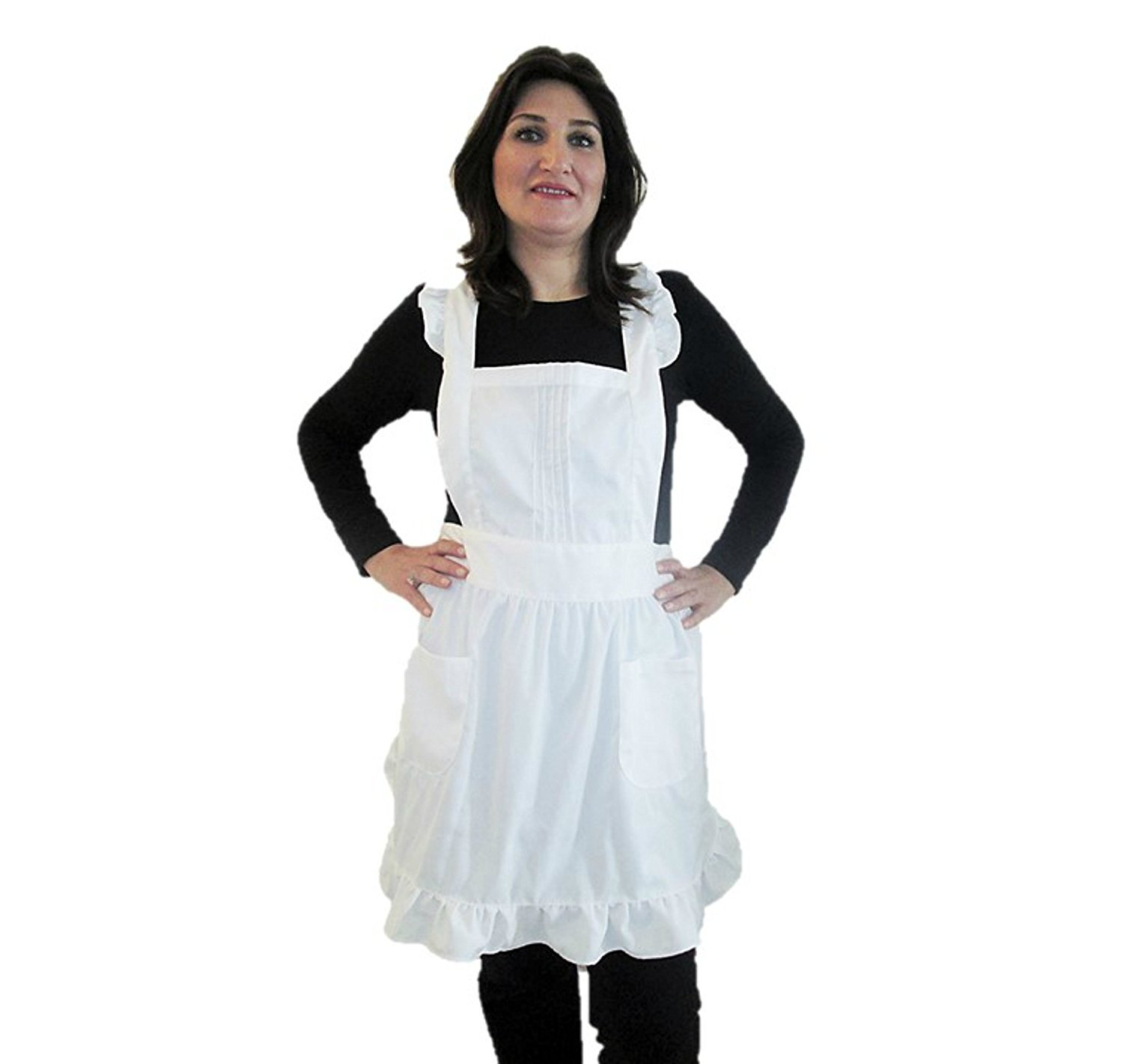 IB-ON Apron for Women & Girls with pockets plus sizes White Custom Printable Lovely White Apron for Cooks Bakers and Chefs, Servers & Waitresses Comfortable Fabric Packaged in a Beautiful Gift Box COMINHKPR104443