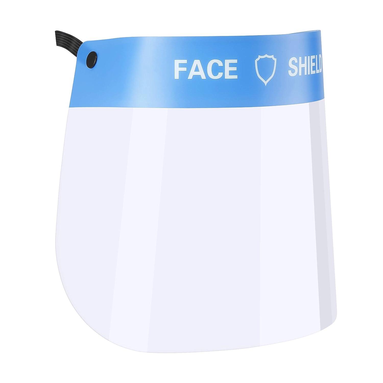 Veperain Visera Protectora para la Cara,Protector Facial de Seguridad,plástico Ligero, Ajustable, Transparente,para Evitar la Saliva, Gotas, Polen y Polvo
