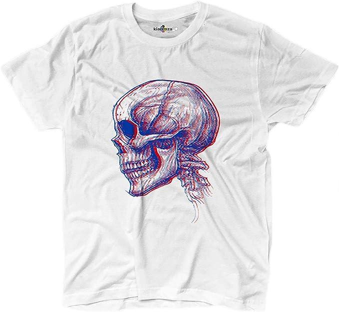 KiarenzaFD - Camiseta Camiseta Calavera Tridimensional Skull Dibujo diseño Old School Grunge, KTS02234-S-white, Blanco, Small: Amazon.es: Deportes y aire libre