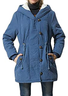 abc26eb79325e Cromoncent Womens Winter Plus Size Wool-Lined Hooded Parkas Jackets Coat