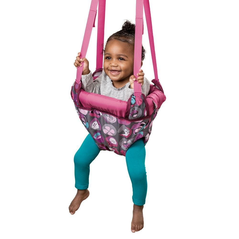 Evenflo ExerSaucer Door Jumper, Baby Swing Pink Bumbly, Jump Up Doorway Bouncer,Fits standard doorways that are 3 to 6 thick with firmly affixed door trim at least 1/2wide.
