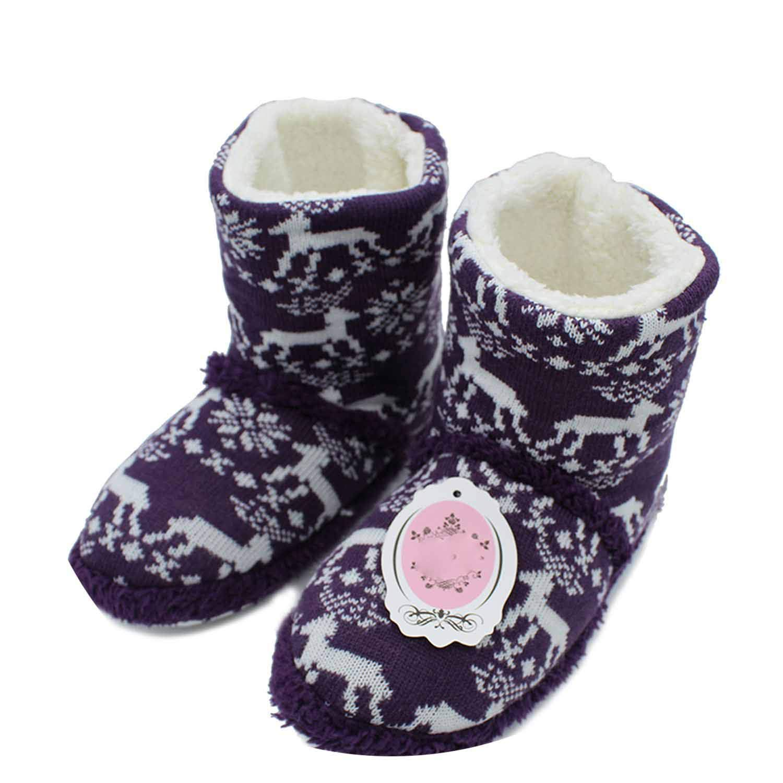 s Elk Warm Soft Woolen Indoor Slipper Non-Slip Plush Slippers ST87