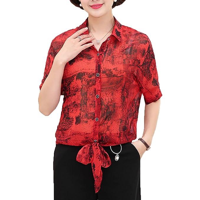 Collar Sin Mangas Para Mujeres Camisas Sueltas Ocasionales Blusas Blusa De Chifón Con Estampado Floral,