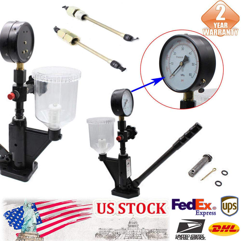 Fuel Test 0 to 600 bar & 0 to 8000 PSI Heavy Duty Diesel Injector Nozzle Tester with Dual Scale Gauge to Adjust Injector Nozzle Pressure and Testing