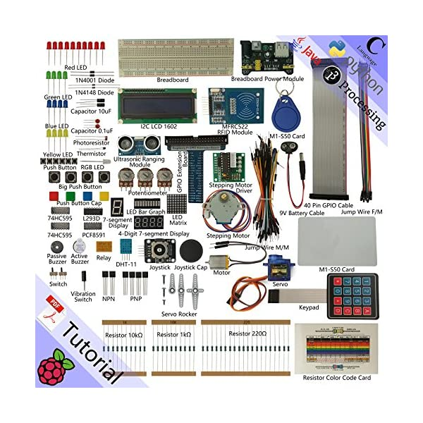 Freenove RFID Starter Kit for Raspberry Pi 4 B 3 B+, 423 Pages Detailed  Tutorials, Python C Java, 204 Items, 53 Projects, Learn Electronics and