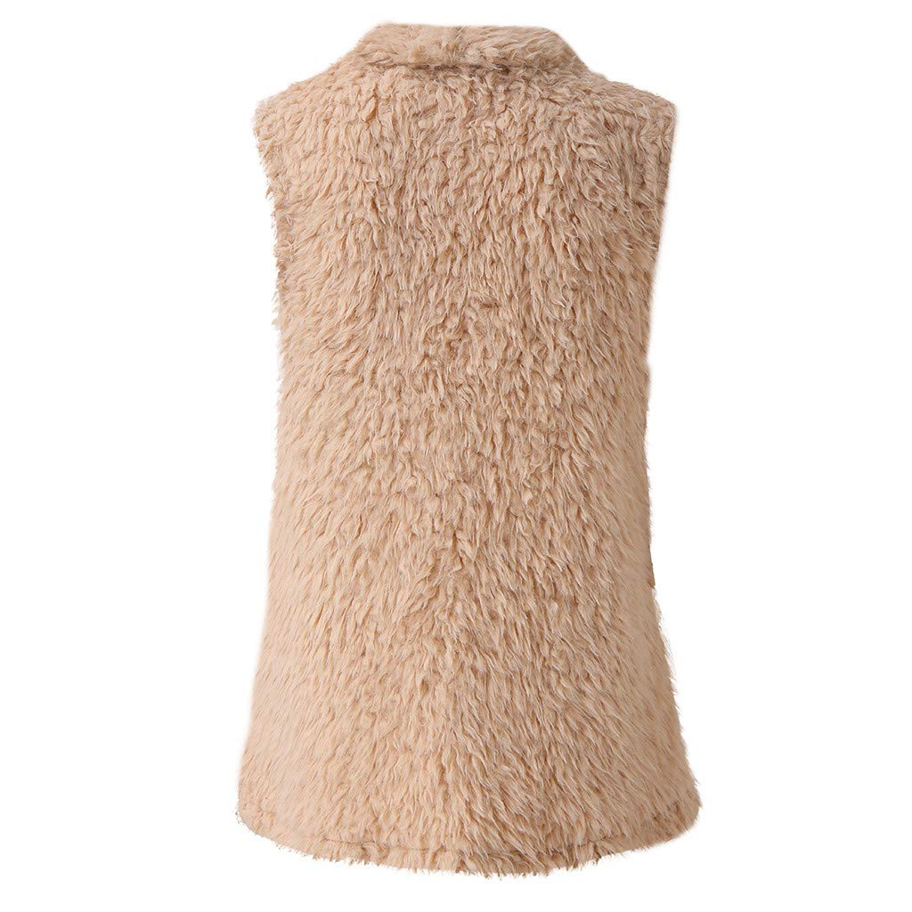 VEZAD Store Women Winter Warm Faux Fur Sleeveless Vest Solid Casual Waistcoat Coat
