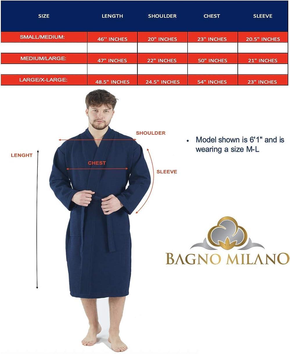 Made in Turkey Bagno Milano Mens Waffle-Knit Bathrobe Lightweight Hotel Spa Robe