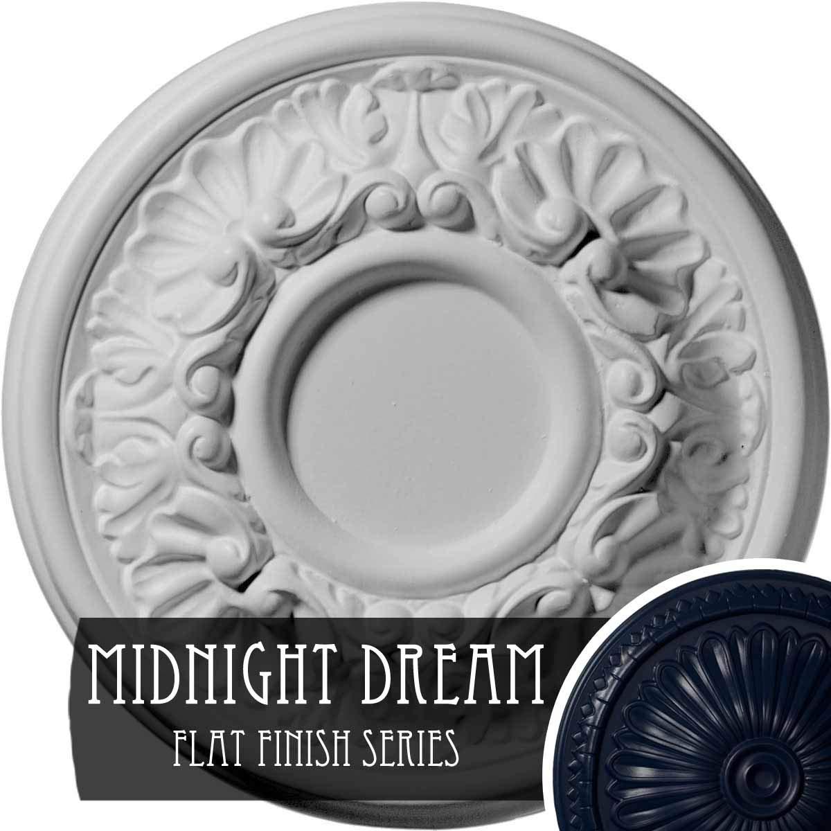 Ekena Millwork CM07ODMDF Ceiling Medallion 7 OD x 1 1/8'' P Odessa (fits Canopies up to 2 1/2''), Midnight Dream