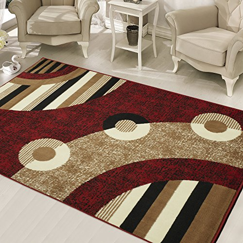 Cream Brown Rectangle Rug (ON 5'x7'ft Red Black Cream Brown Multi Colored Geometric Patterned Modern Area Rug, Indoor Circles Living Room Bedroom Mat Rectangle Carpet, Contemporary Balloon Design Polypropylene Flooring)