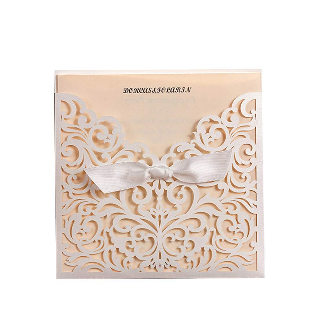 Amazon Com Elegant Laser Cut Wedding Invitations Cards With