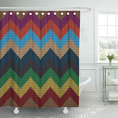 Emvency Shower Curtain Waterproof Adjustable Polyester Fabric Missoni  Knitted Varicolored Sweater Autumn Beautiful Close Craft Dark Detail 72 X  78 Inches ...