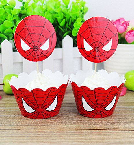 Spiderman Themed Cupcake Wrapper Topper Kit Set of 1 Dozen -