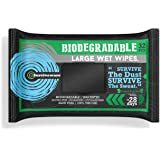 Surviveware Biodegradable Wet Wipes Large Pack - Rinse Free Shower Wipes for Post Workouts, Camping, Backpacking…