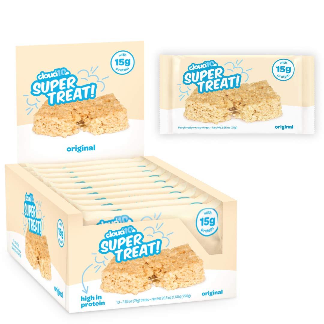 Cloud10 High Protein Gluten Free, Kosher, No Artificial Sweeteners, Peanut Free, Non-Gmo, Marshmallow Rice Crispy Treats 10 Count, Original, 2.65 Ounce