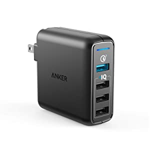 Anker Quick Charge 3.0 43.5W 4-Port USB Wall Charger, PowerPort Speed 4 for Galaxy S10/S9/S8/edge/plus, Note 8/7, LG G6/G5, HTC, Nexus 9, with PowerIQ for iPhone XS/Max/XR/X/8/Plus, iPad, and More