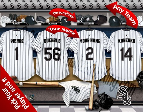 (Chicago White Sox Team Locker Room Clubhouse Personlized Officially Licensed MLB Photo Print )