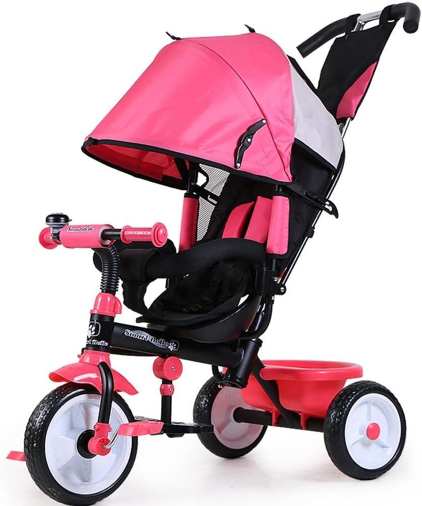 Xiaoping Las Bicicletas de Tres Ruedas for niños Hombre Y Bicicleta de la Hembra del bebé Los niños (1-6 años) El Carro de bebé (Color : Pink)