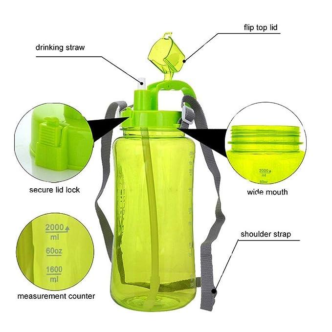 ASeeker Botellas de Agua Deportivas DE 1.5 litros, de Gran Capacidad, Impermeables, Antigoteo, para Viajes, Camping, con Correa para el Hombro, ...