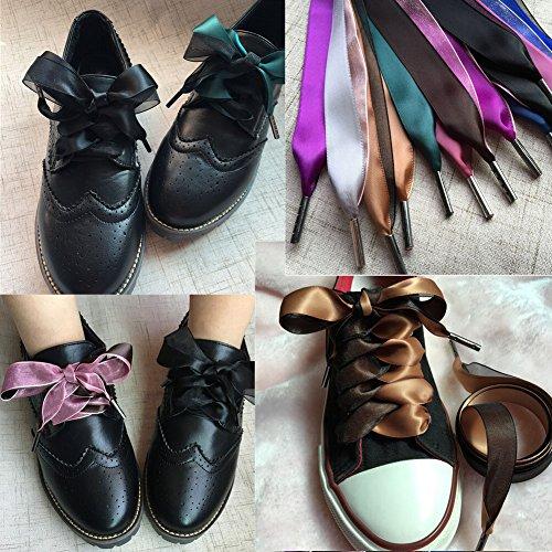 Set de 2 cordones de terciopelo cordones cordones de zapatos de moda 120 cm [Negro] multicolor 13