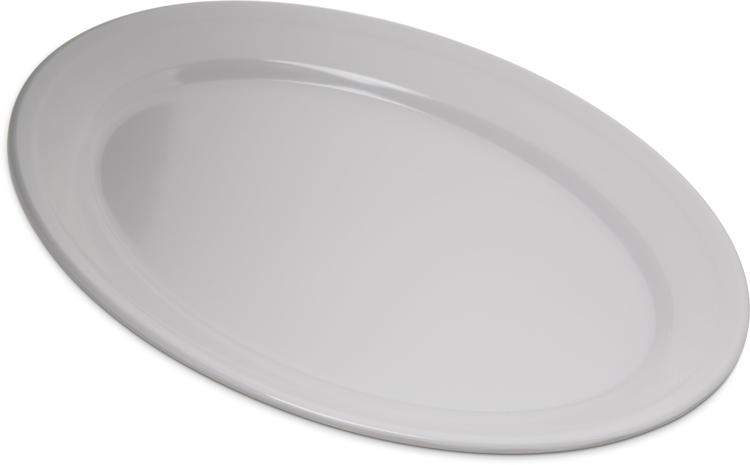 Carlisle 4356002 Dallas Ware Melamine Oval Platter Tray, 12'' x 8.50'', White (Pack of 24)