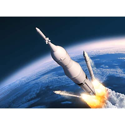 DIY Oil Painting by Numbers Kits Acrylic Canvas Home Wall Decor Paintworks for Adults Beginner - Rocket Launch 16X20 Inch (Frameless): Toys & Games