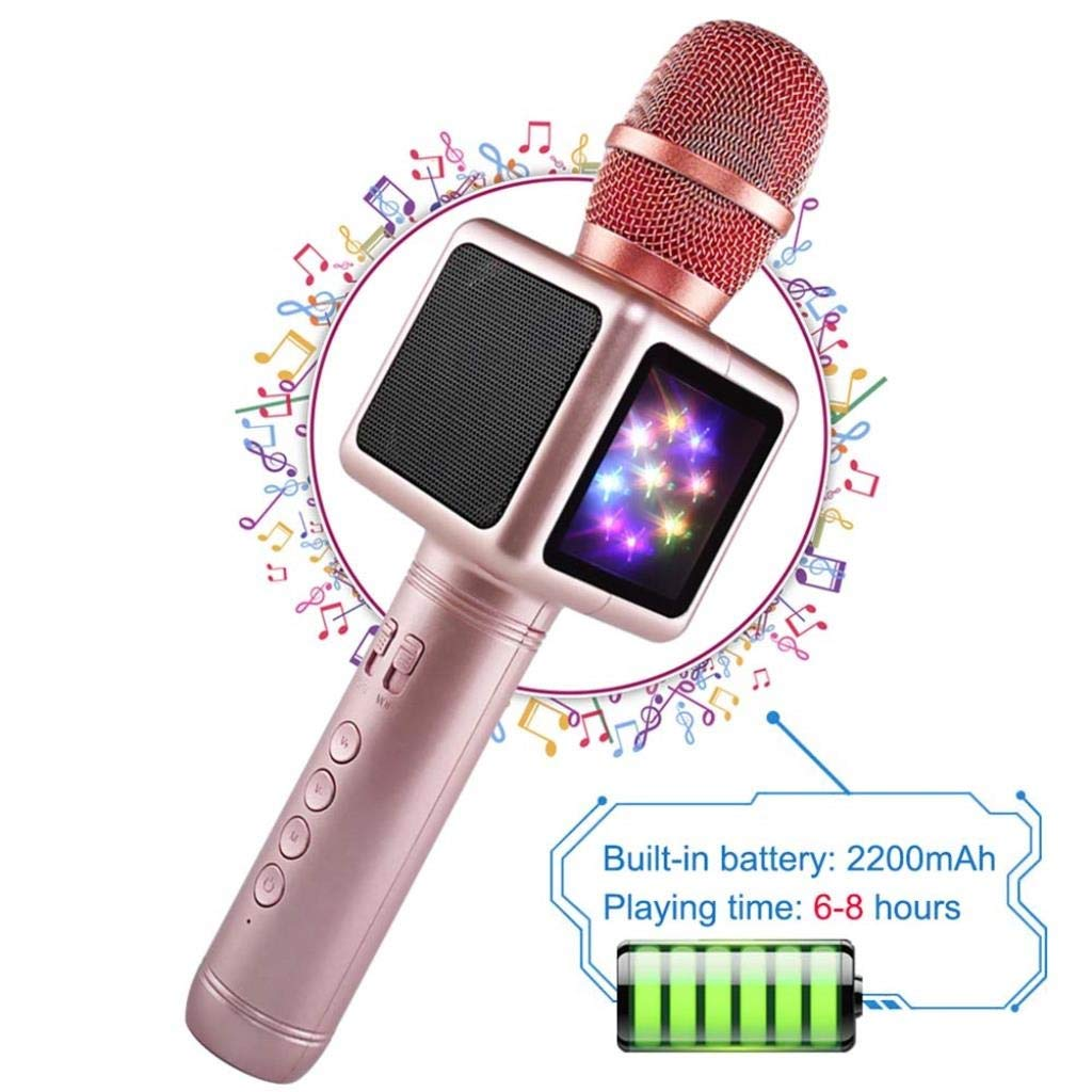 Rsiosle Wireless Bluetooth Karaoke Microphone with Disco Lights, Condenser Bluetooth Speaker Music Sing Play Karaoke Microphone Compatible with Android and iOS (Color : Gold) by Rsiosle (Image #6)