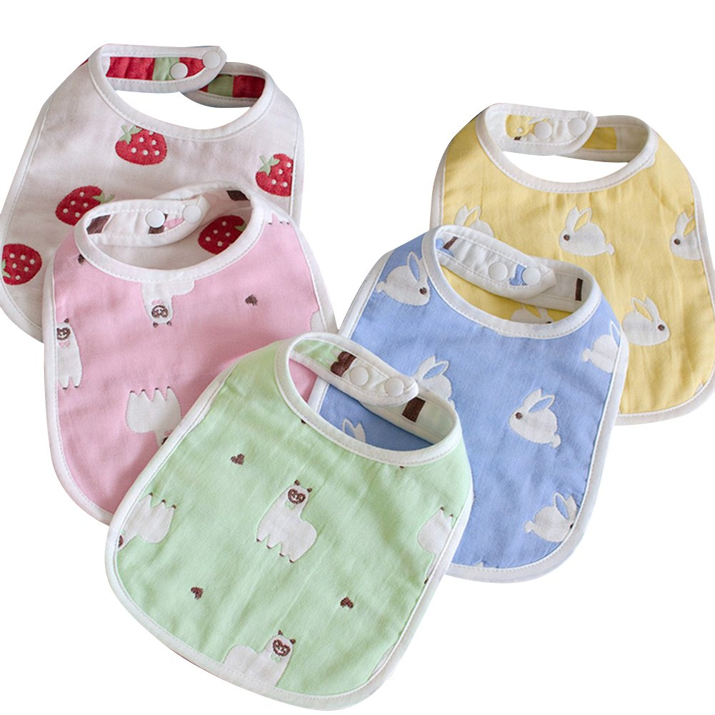 Toddlers Drool Bibs with Snaps, 5-Pack Organic Absorbent Drooling & Teething Bib Cotton, Age 0-36 Months