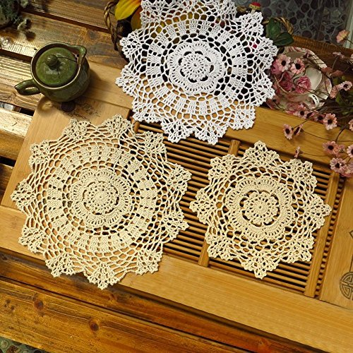 "TideTex 6PC Vintage Floral Round Hollow Out Lace Cotton Table Placemats Tablecloth Dinner Cloth Doilies Handmade Crochet Cup Pads Vase Pads Value Pack Decoration Mats (7.8""x7.8"", beige)"