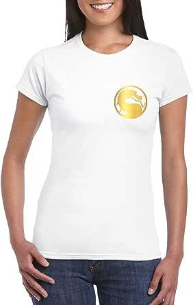White Female Gildan Short Sleeve T-Shirt - Mortal Kombat Symbol – Chest and Back – Gold design