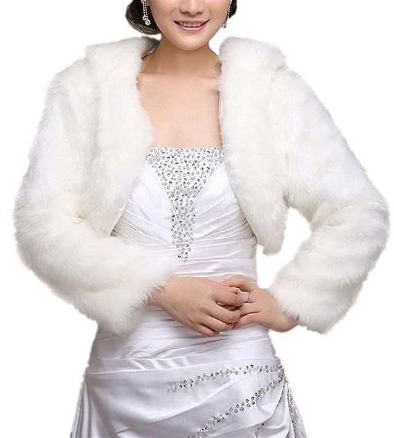 Poncho De Piel Elegante Mujer Moda Chaqueta De Novia ...