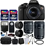 Canon EOS Rebel T6i 24.2 MP EF-S DSLR Camera + Canon EF-S 18-55mm STM Zoom Lens + EF-S 55-250mm IS STM Lens + SLR Camera Case + 58mm 2x & Telephoto Lens + 64GB Card + Wireless Remote + Complete Bundle