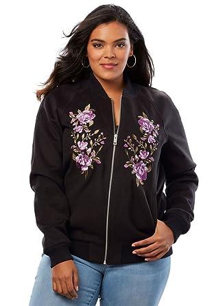 603e13a0ea8 Amazon.com  Roamans Women s Plus Size Embroidered Bomber Jacket  Clothing