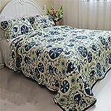 Auvoau Reversible Real Patchwork Cotton Fairy Forest Glade Floral Quilt Bedspread Set Boho Quilt Set Boho Style Quilt Set,3-Pieces (King, 2)
