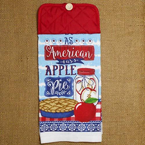 Apple Kitchen Tea Towel - As American As Apple Pie Hanging Dish Towel, Patriotic Kitchen Decor