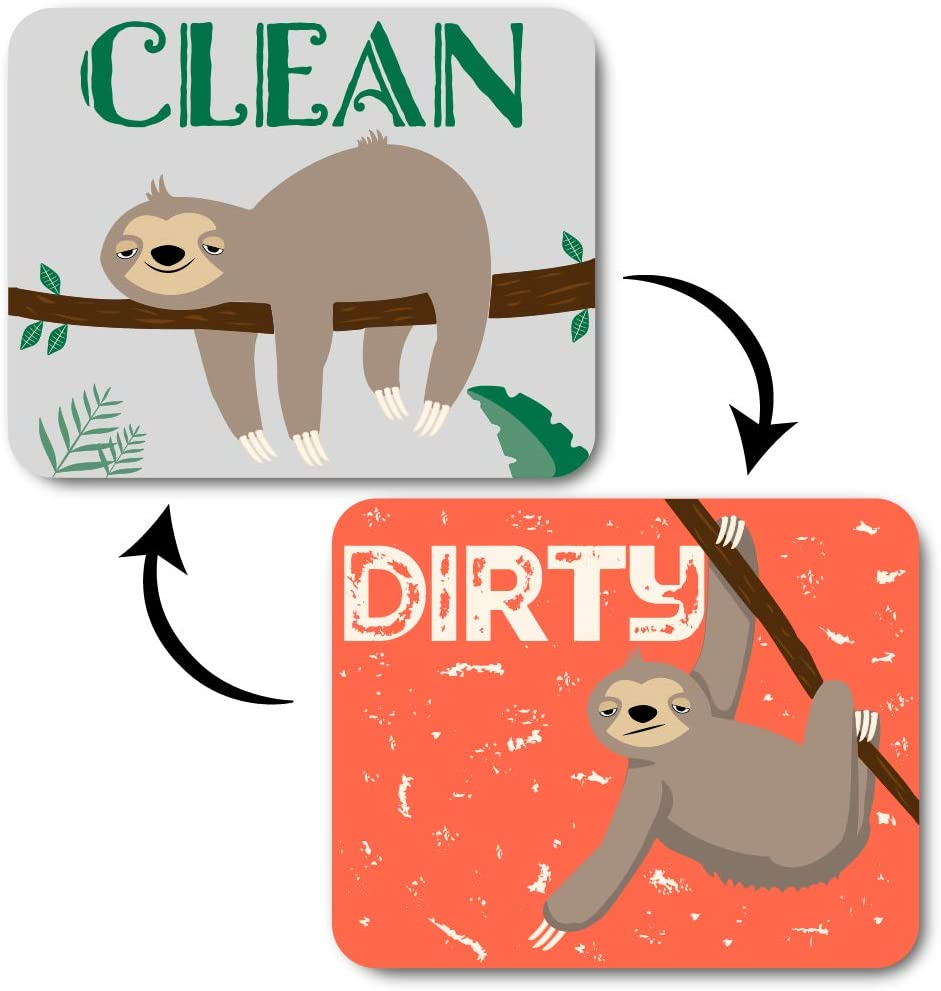 Tree Sloth Clean Dirty Dishwasher Magnet Sign – Strong Kitchen Dish Washer Double Sided Indicator, Funny Reversible Flip Magnet + Bonus Universal Magnetic Plate