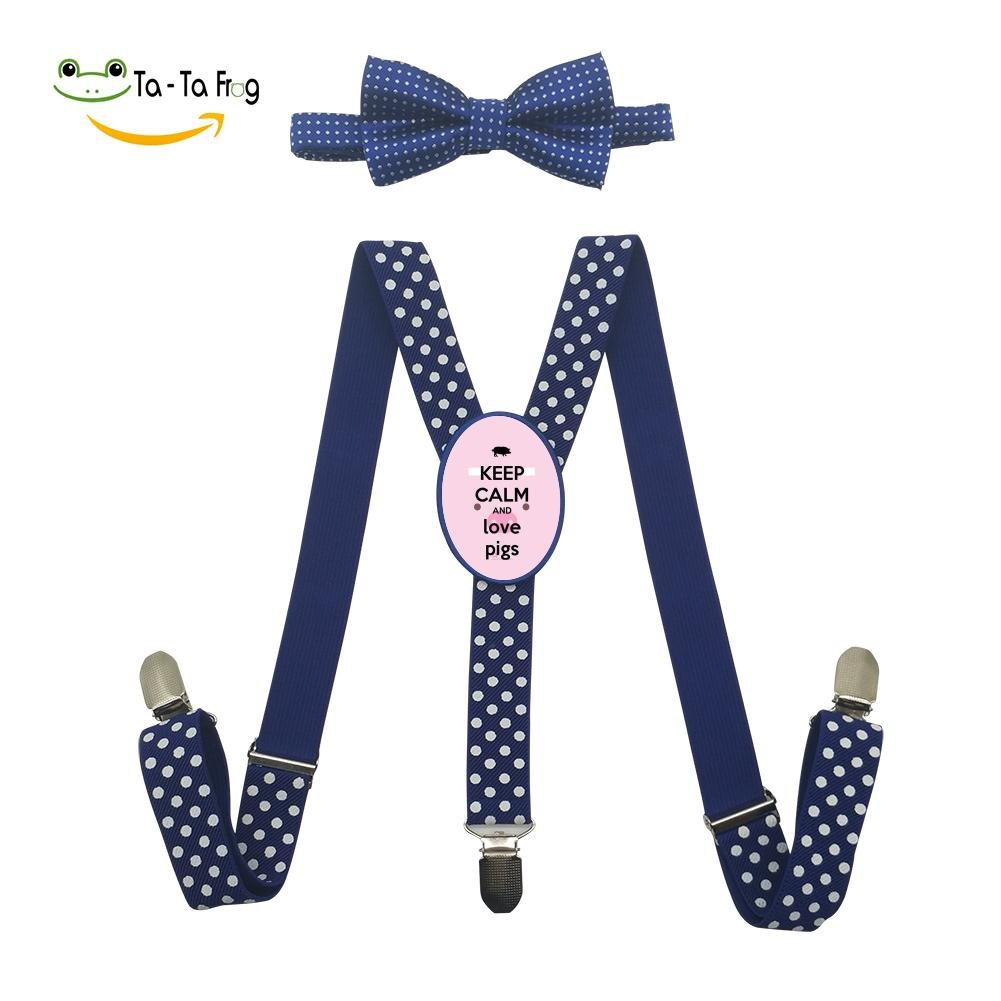 Xiacai Keep Calm And Love Pigs Suspender&Bow Tie Set Adjustable Clip-On Y-Suspender Children