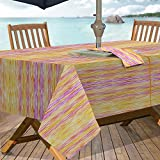 Casual Living by Newbridge Color Stream Indoor Outdoor Polyester Table Linens, 60-Inch by 84-Inch Oblong (Rectangle) with Umbrella Hole and Zipper Tablecloth, Warm