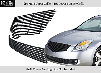 Compatible with 2007-2009 Nissan Altima Sedan Stainless Steel Black Billet Grille Combo N87765J
