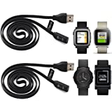 2-PACK Pebble Time Charging Cable (3.3ft/100cm), TUSITA Replacement USB Charge Charger Wire Cord For Pebble Time / Time Steel / Time Round / Pebble 2 (2016) Smart Watch