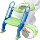 Toddler Toilet Seat Step, Potty Training Seats with Ladder for Kids Baby Upgrade Soft Cushion Anti-Slip Foldable Potty…