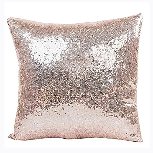 Aremazing Solid Color Glitter Sequins Home Office Decorative Pillowcase Throw Pillow Cushion Cover 16 x 16 Inches (Rose Gold) - Roses Pillow Cover