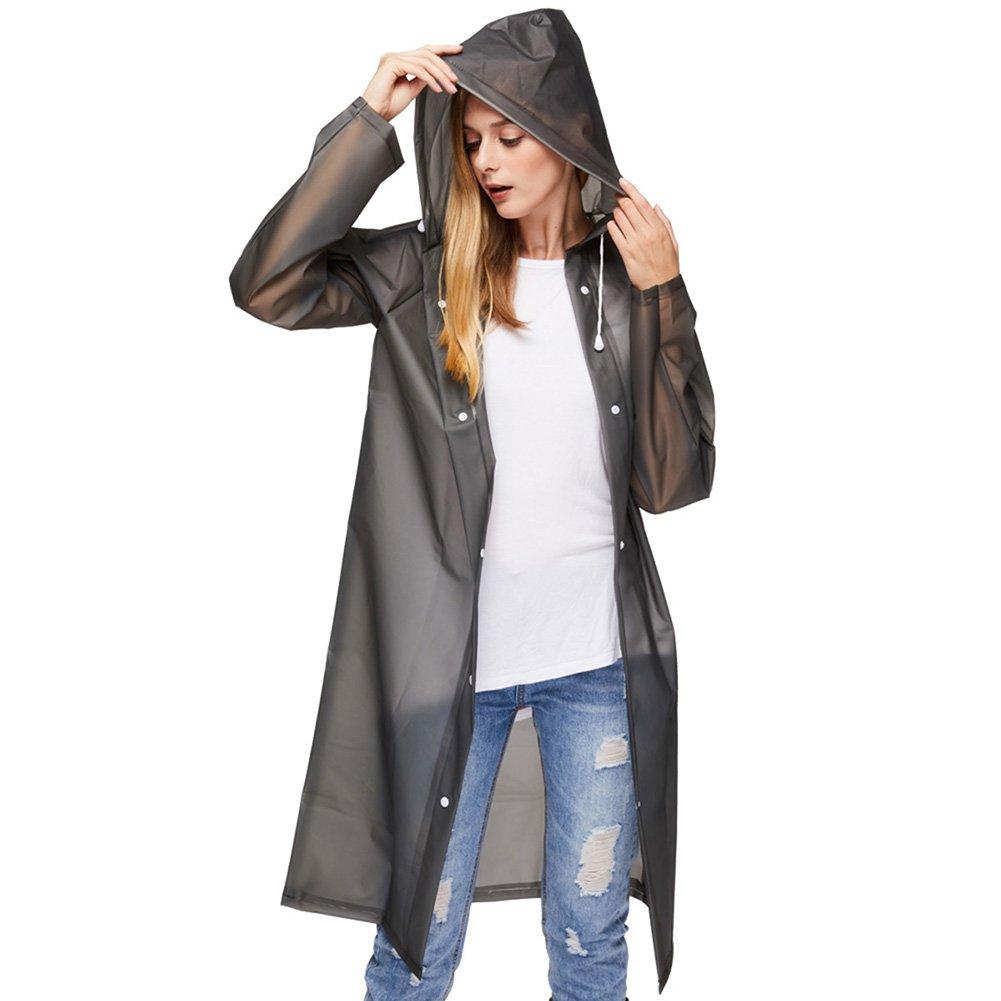 UniqueBella Waterproof Raincoat, Clear Reusable Rain Coat Rainwear Emergency Poncho con cappuccio e maniche per unisex Adulti
