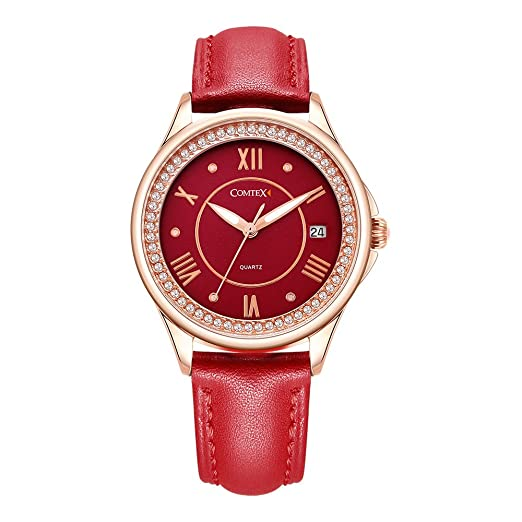 d4aaf2dd4 Women's Watch Rose Gold Tone Red Leather Fashion Ladies Watches Crystal  Diamond: Amazon.co.uk: Watches