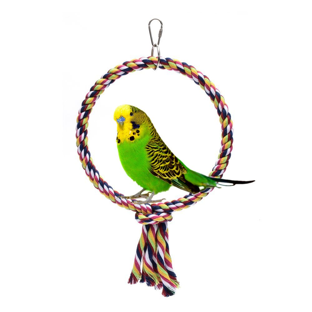 Onemore choice Bird Toys,Flying Trapeze Multi-color Cotton Swings Budgie Toys Bird Swings for Parrot(Round)