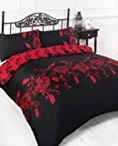 BLACK & RED EASY CARE PRINTED DOUBLE DUVET COVER BED SET
