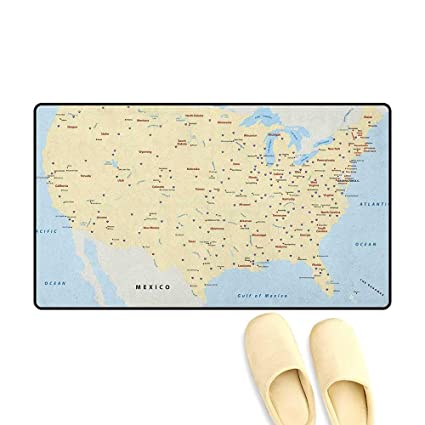 Amazon.com: Map Bath Mat for tub United States Interstate Map ...
