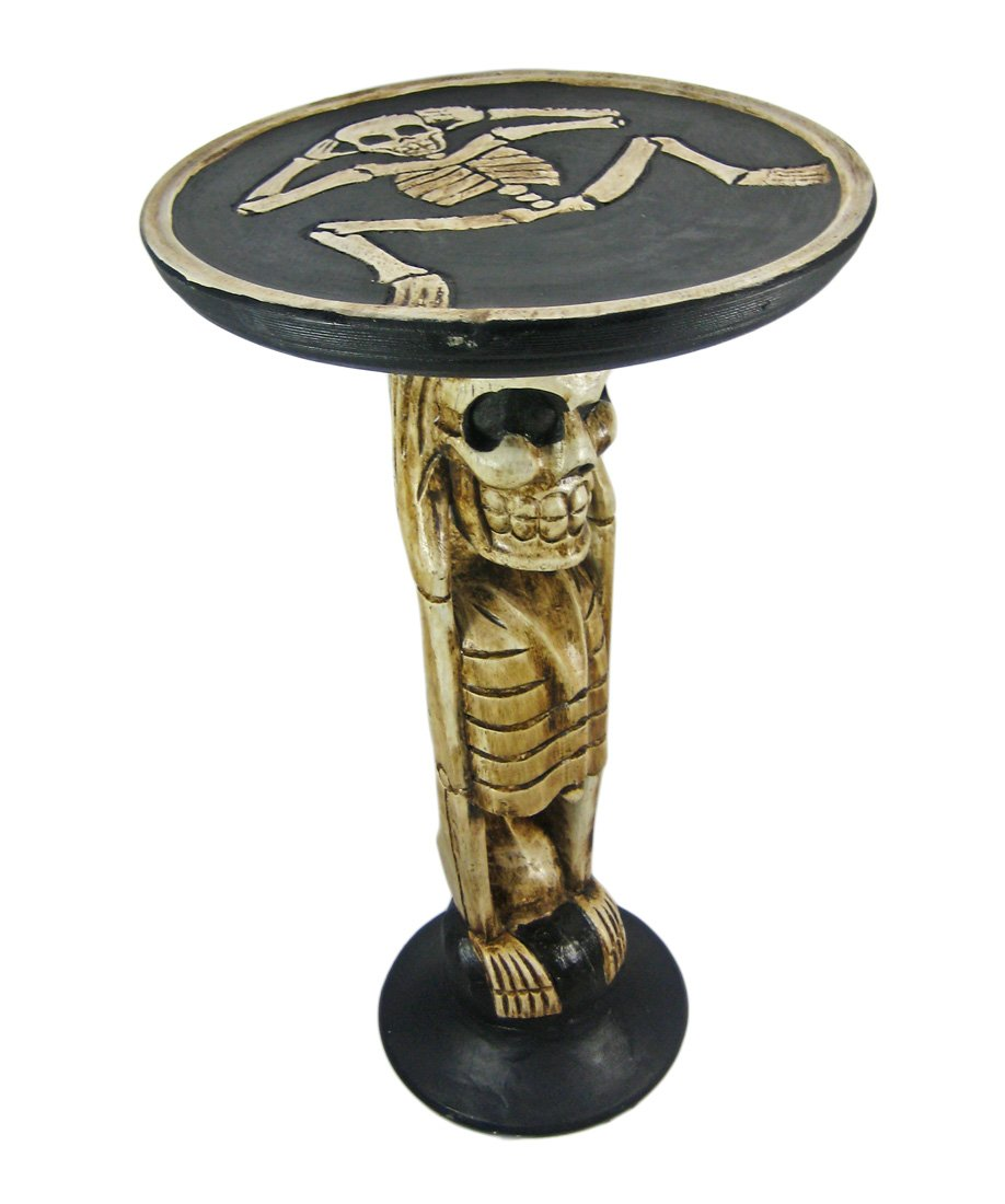 Scratch and Dent Hand Carved Skeleton Wooden End Table Plant Stand
