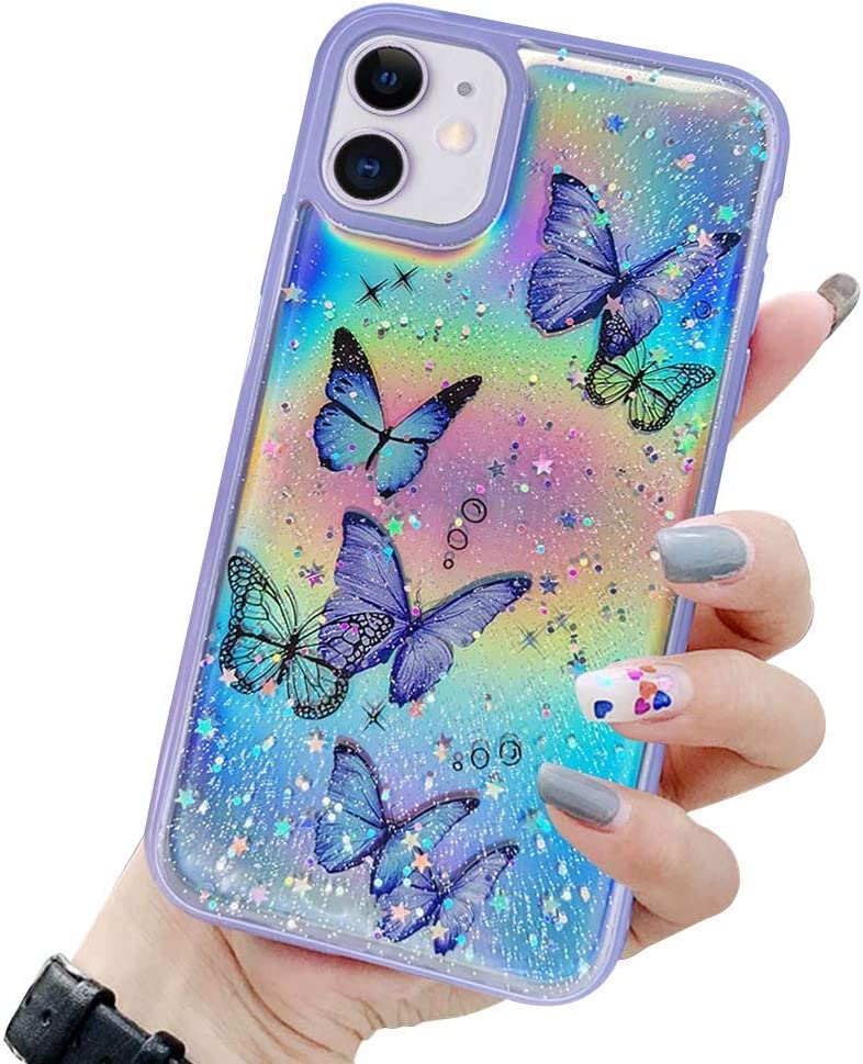 LCHULLE Girly Case for iPhone 7 Plus iPhone 8 Plus Case Cute Iridescent Butterfly Design Laser Bling Glitter Stars for Girls Women Soft TPU Bumper Drop Protection Case for iPhone 7 Plus/8 Plus, Purple