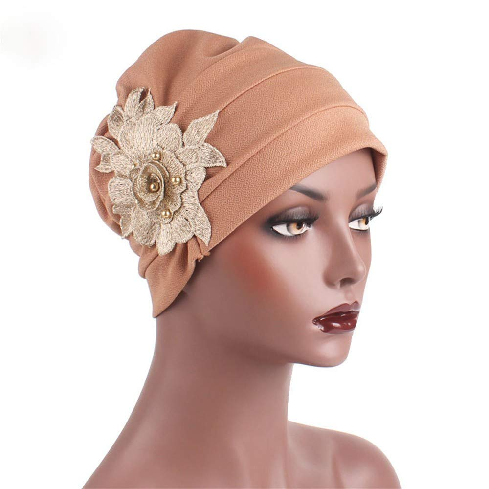 Women's Muslim Elastic Appliques Turban Hat Hair Loss Head Wrap Cap Chemo Cap Fashion Slouchy Hats for Women Khaki
