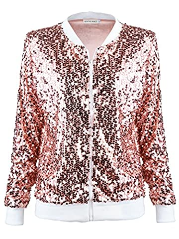 Anna-Kaci Womens Black Silver Sequin Fitted Rib Long Sleeve Zipper Blazer Jacket, Rose Gold, Large (Fitted Jacket Juniors)